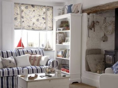 Small coastal nautical living room decor idea with pop of red