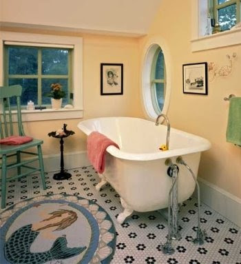 coastal nautical bathroom rug idea