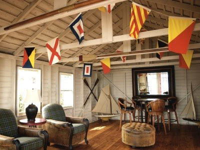 hanging nautical signal flags on ceiling