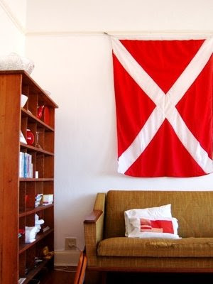 large vintage signal flag