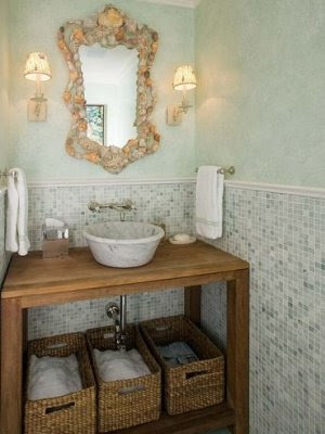 seashell mirror in bathroom