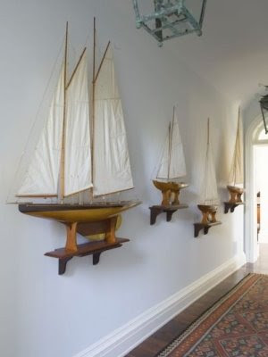 Nautical wall decor ideas with model yachts
