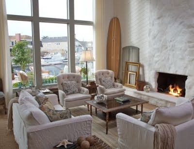 Surfboard in living room