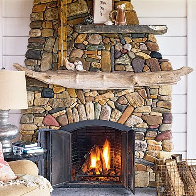 Driftwood fireplace mantel idea
