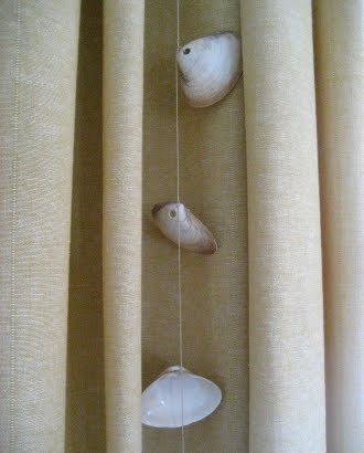 shell garland as curtain decor