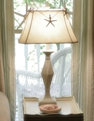starfish garland around lamp shade