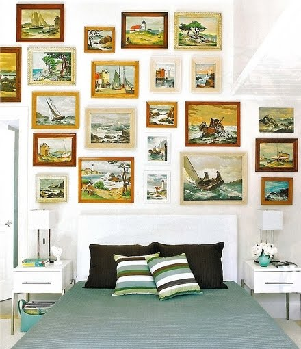 Bedroom Design with Vintage Gallery Wall above Bed