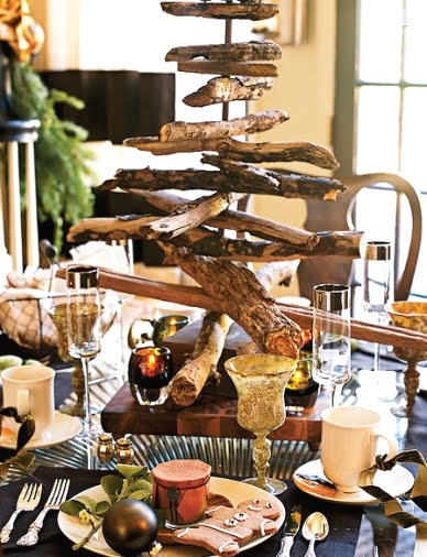 driftwood Christmas tree as table centerpiece