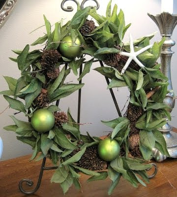 green Christmas wreath on picture stand