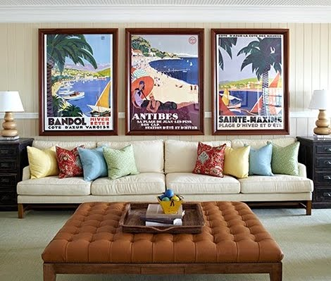 vintage french travel posters accent wall decor ideas above the sofa