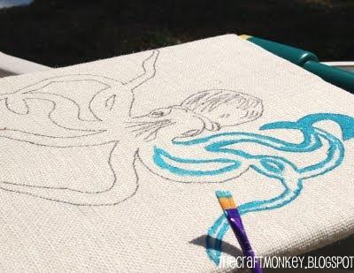 painting on burlap canvas