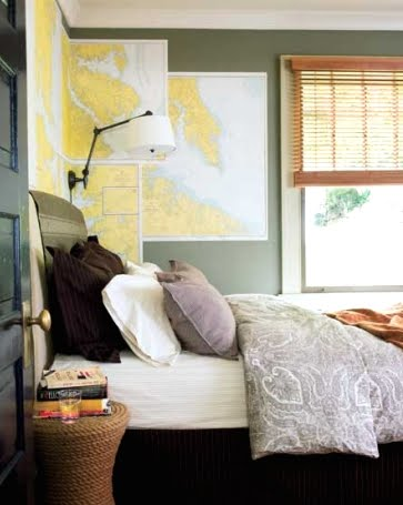nautical bedroom wall decor idea with maps