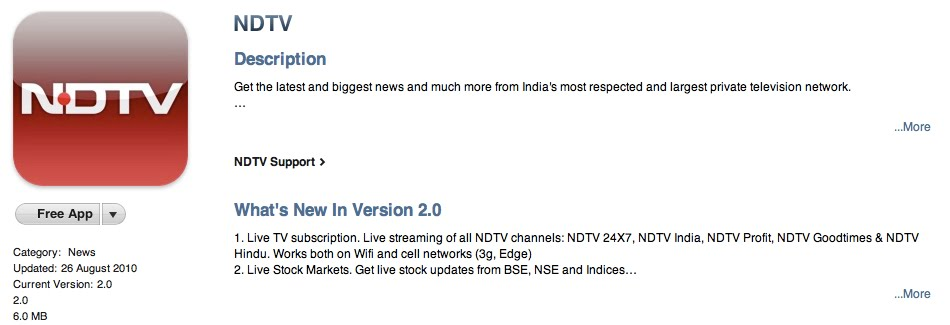 A B A T A G A S: NDTV adds Live TV in app & removes the ugly