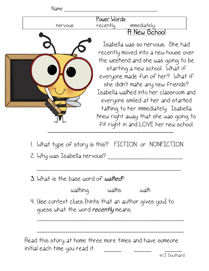 Reading Comprehension Worksheets 1St Grade Free Free Worksheets ...