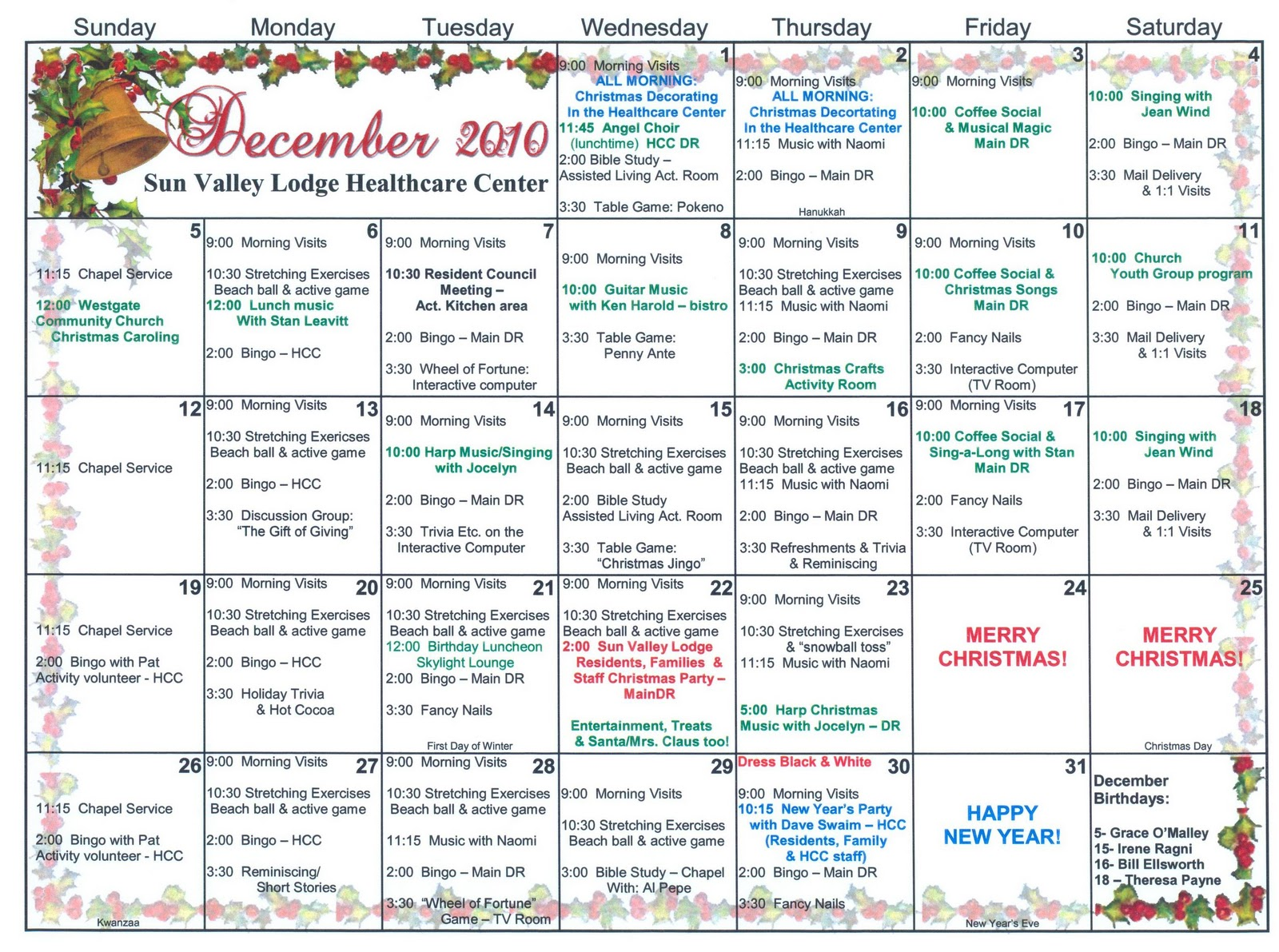 assisted living activity calendar template - search results for nursing home activity calendar