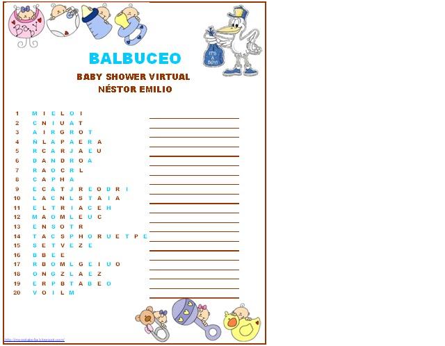 Juegos Para Baby Shower Balbuceo Juegos Fiestas Y