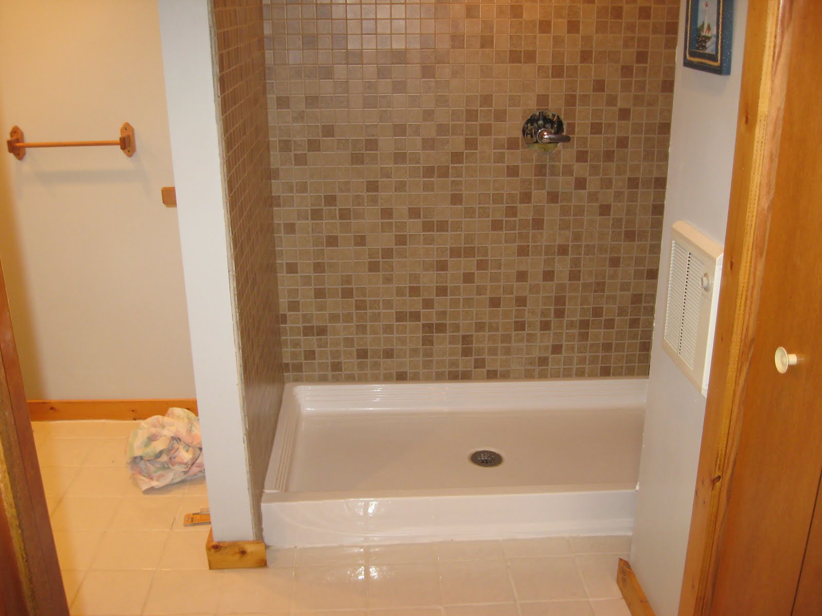 This Is A Mosaic Tile Shower Where The Small 2 X Tiles Are Already Placed On 12 Mesh Sheets Fibergl Pan Was Used