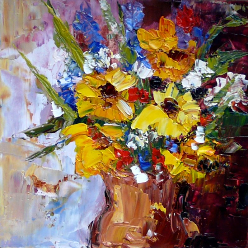 Daily Painters of Georgia: Just Because - Flowers in Vase ...