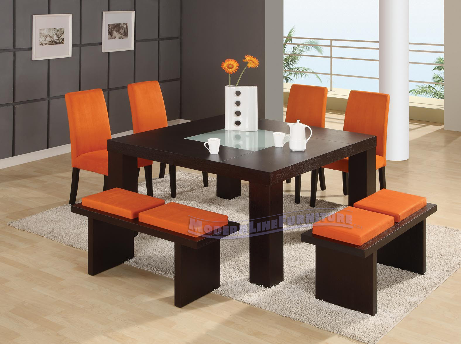 Contemporary square dining room table for 8. mesa de jantar ...