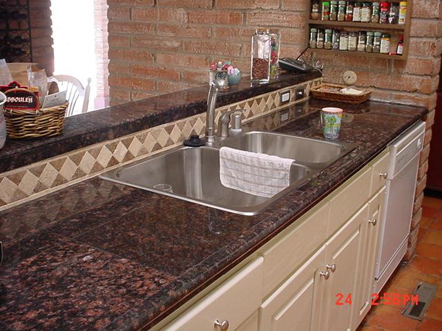 Granite Tile Kitchen Countertop Installation