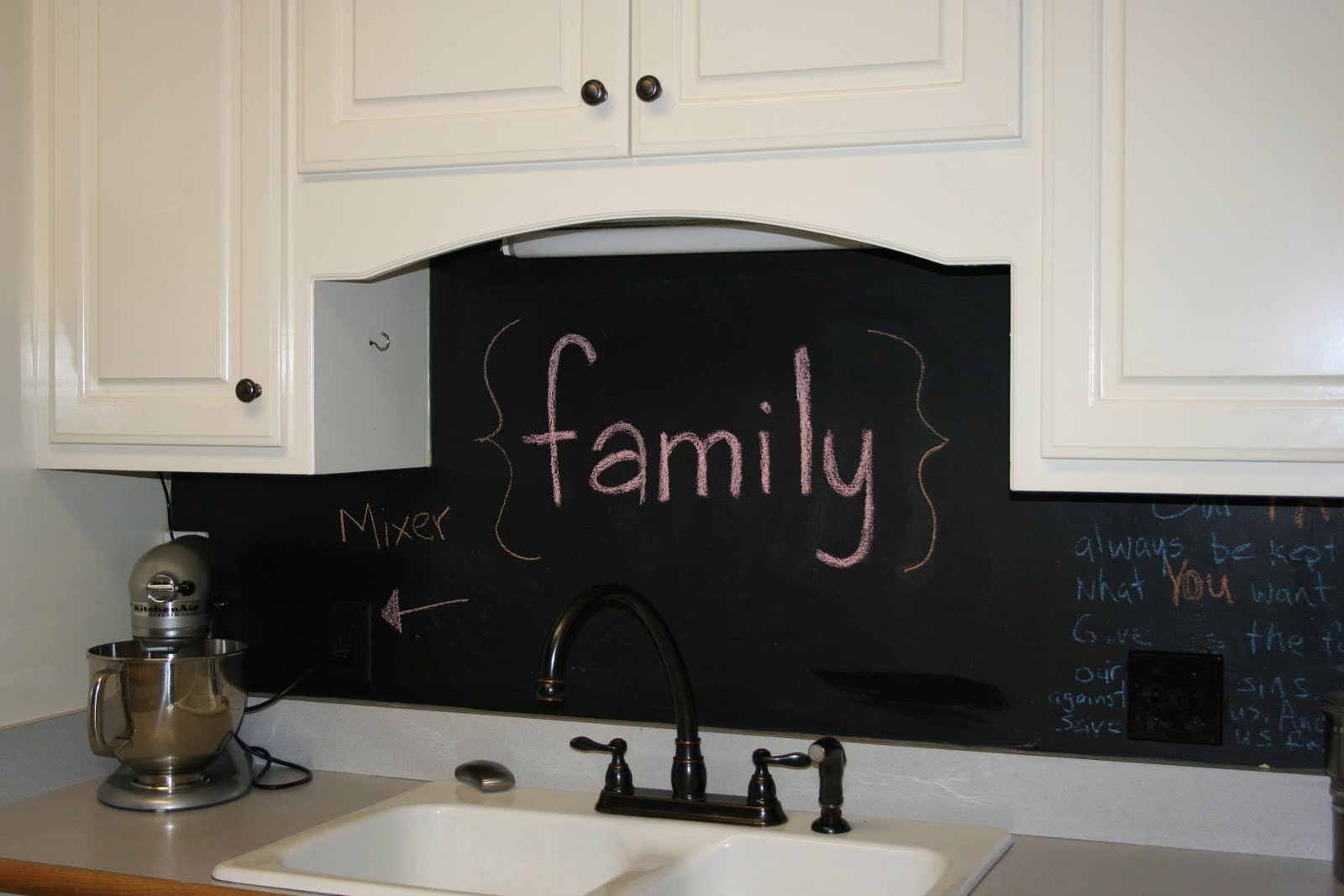 chalkboard in kitchen faucet with handspray cupboards and bath when trends attack