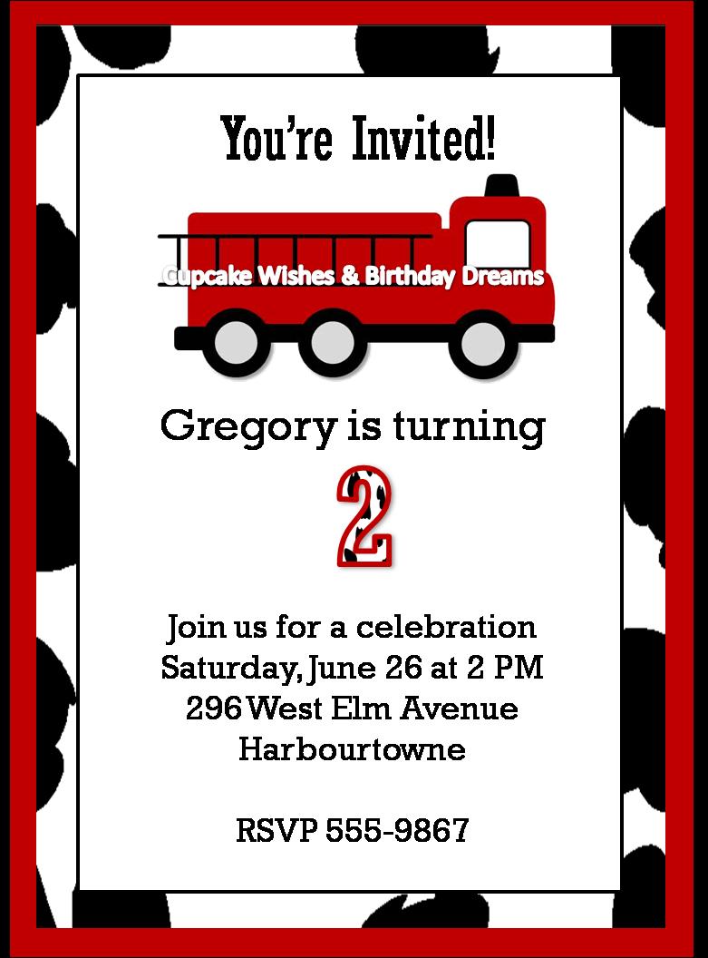 Fire Engine Invitations