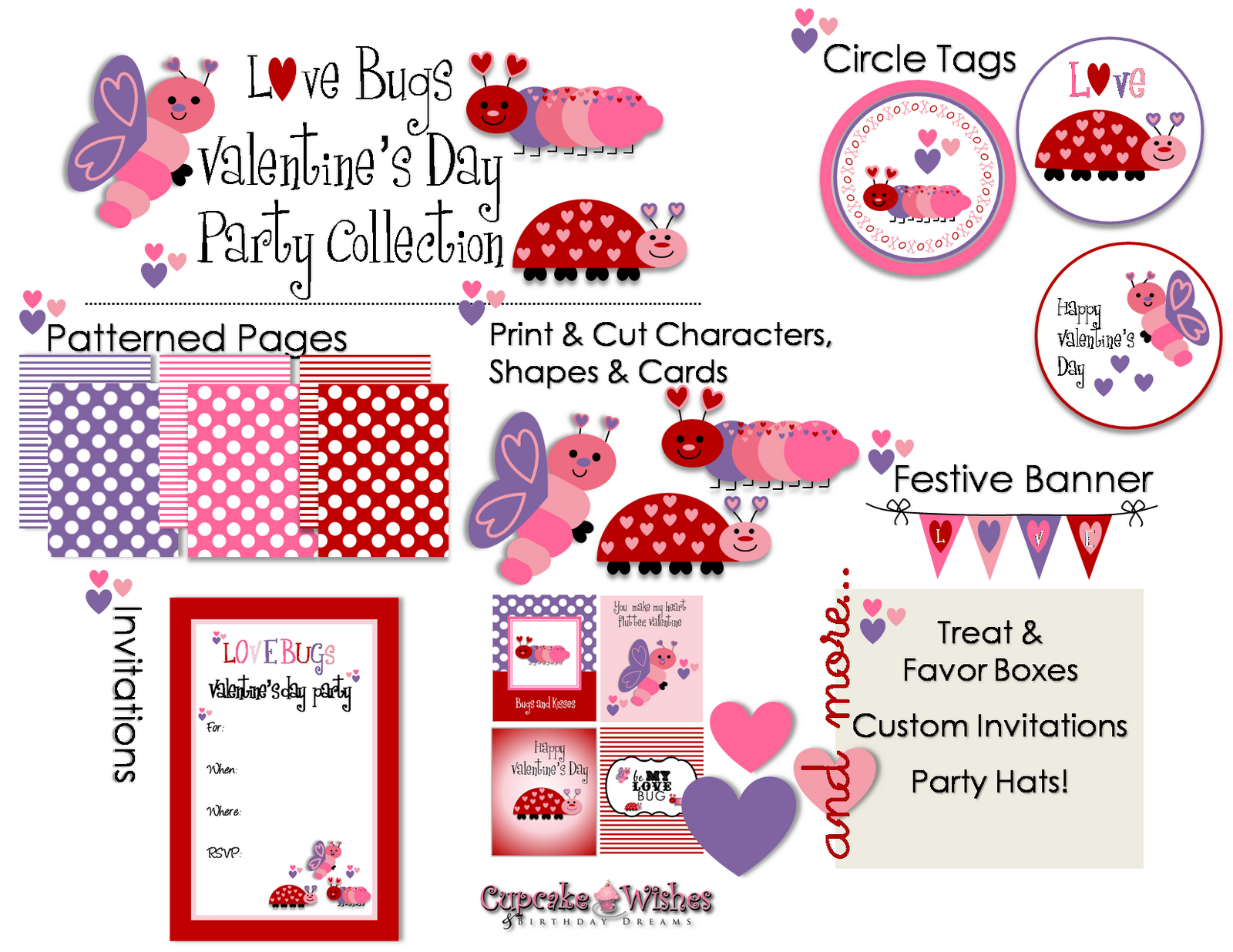Cupcake Wishes Amp Birthday Dreams Love Bugs Party Printables On Etsy