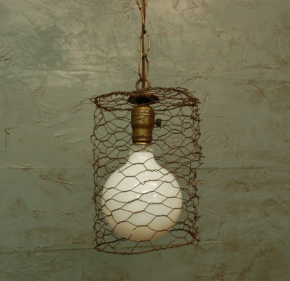 LET'S STAY: Chicken Wire Glass Light Fixtures