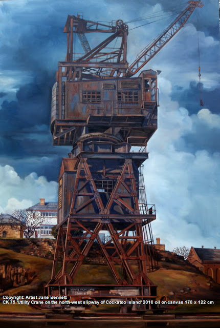 oil painting of crane on Cockatoo Island  by artist Jane Bennett