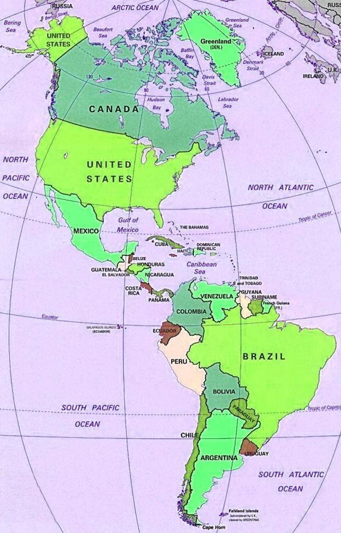 Cartina geografica stati uniti d america