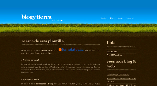 Nature Theme Blogspot Template