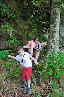 Jessica and the Boys Scrambling down the trail