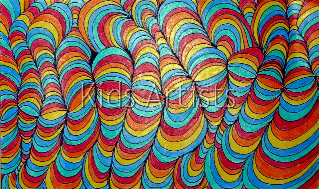 Kids Artists Op Art Line Design