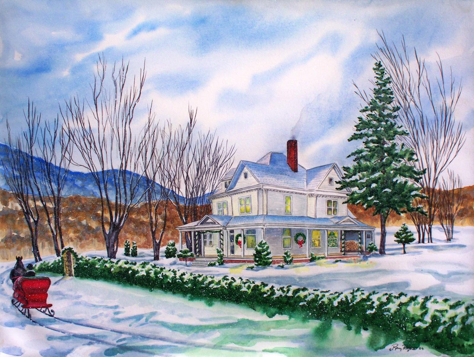 Christmas house painting - Christmas Poster House Painting Christmas Poster