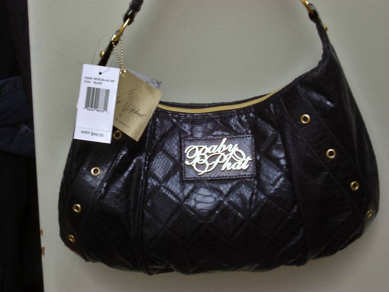 Baby Phat Black Croco Las Handbag Gold Hardware Nwt
