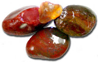 The carnelian agate upper left, center top sard agate (yellow/gold was backlit for translucency) and the others are fancy jasper. The photos here were taken wet to better see their colors.