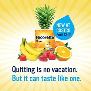 Costco free sample of nicorette fruit chill coated gum – us.