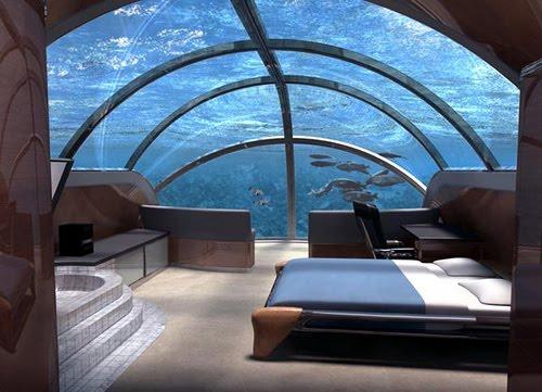 habitación - hotel sumergido a 12 metros de profundidad