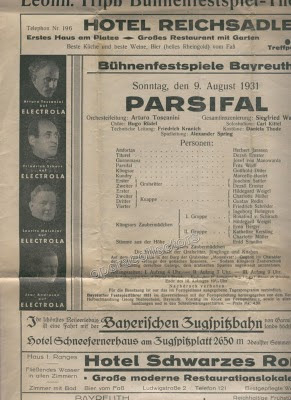 Programa del Festival de Bayreuth en el que tomó parte Jorg Mager