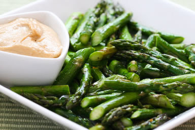Roasted Asparagus with Creamy Tahini-Peanut Dipping Sauce found on KalynsKitchen.com