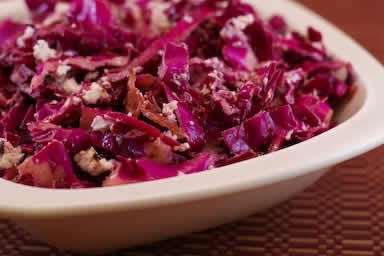 Original photo Warm Red Cabbage Salad with Bacon and Goat Cheese found on KalynsKitchen.com