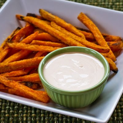 Spicy Dipping Sauce with Sriracha for Sweet Potato Fries or Roasted Vegetables found on KalynsKitchen.com