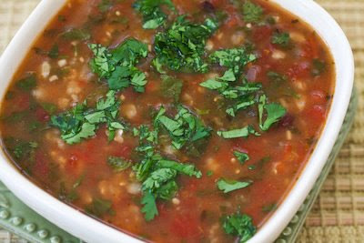 Vegetarian Black Bean and Tomatillo Soup with Lime and Cilantro
