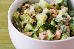 Garden Cucumber Salad with Tuna and Sweet Basil found on KalynsKitchen.com