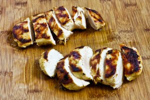 Mustard, Lemon, and Coriander Grilled Chicken Breasts with Lemon-Basil Vinaigrette found on KalynsKitchen.com