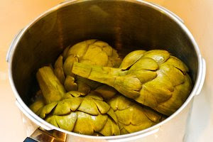 How to Cook Artichokes in a Pressure Cooker found on KalynsKitchen.com