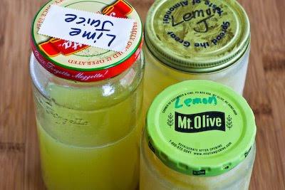 Freezing Fresh Lemon Juice and Lime Juice found on KalynsKitchen.com