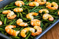 Spicy Roasted Green Beans (or Broccoli) and Shrimp found on KalynsKitchen.com