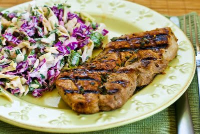 Greek-Seasoned  Grilled Pork Chops with Lemon and Oregano found on KalynsKitchen.com
