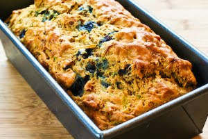 Low-Sugar and Whole Wheat Zucchini Bread Recipe with Blueberries and Pecans found on KalynsKitchen.com